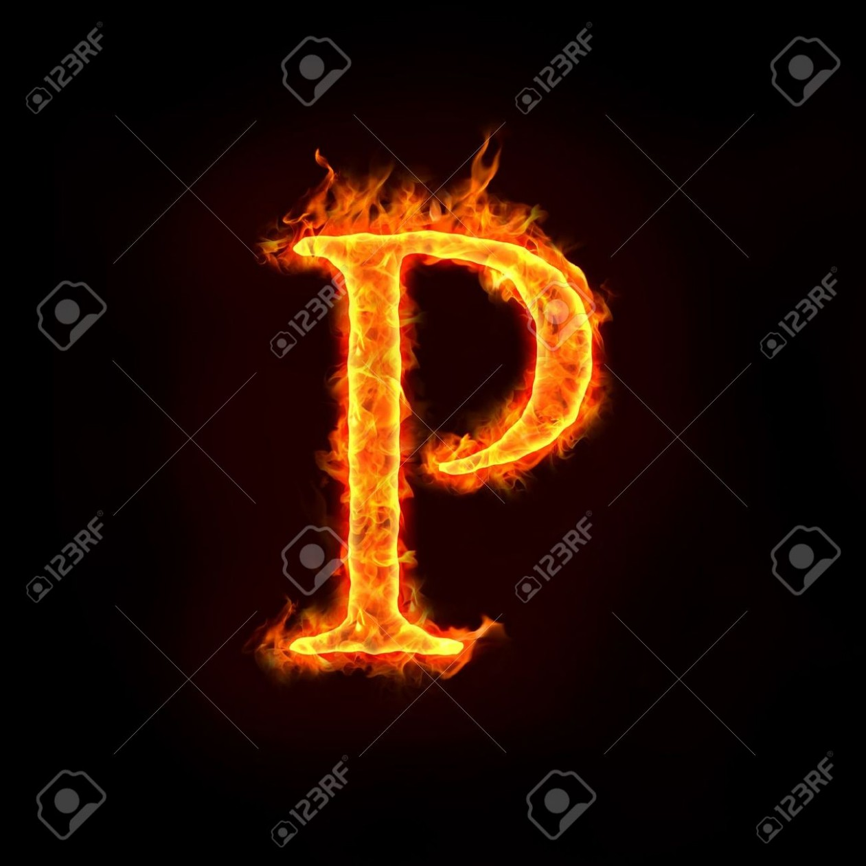 fire alphabets in flame, letter p p&c kleider