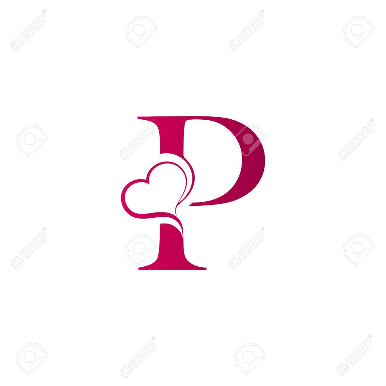 p letter logo with heart icon, valentines day concept p&c kleider