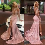 10 Sexy Bling Rose Pink Long Sleeve Ballkleider Mit Split Mermaid African Durchschauen Backless Semi Formal Gala Kleid Abschluss Kleider Gala Kleid