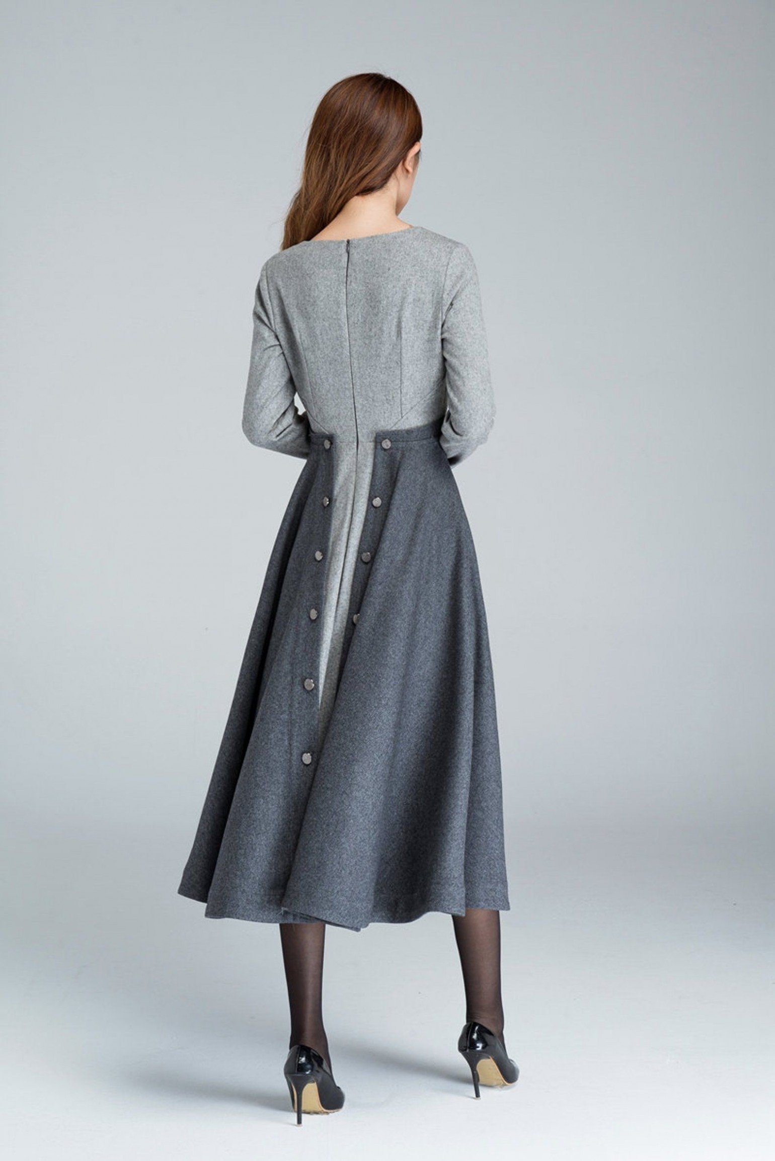 9s grey fit and flare wool dress, womens dresses, winter dress winterkleid