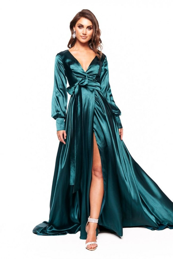 a&n luxe paloma satin gown teal #gown #luxe #nachtkleid satin kleid lang
