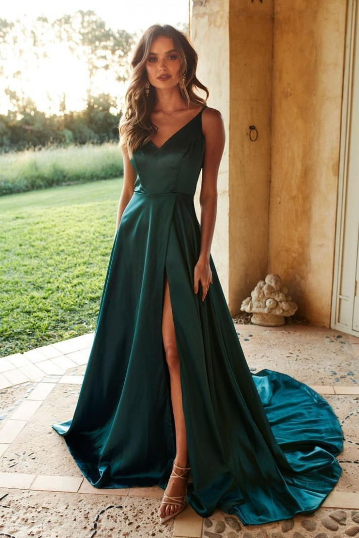 a & n luxus lucia satin kleid teal # #kleid #lucia #luxus langes kleid mit schlitz