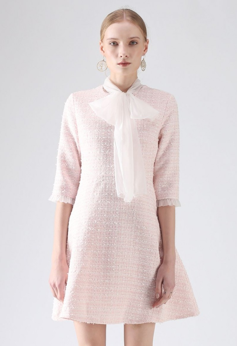 A Hint Of Femininity Tweed Dress in Pink