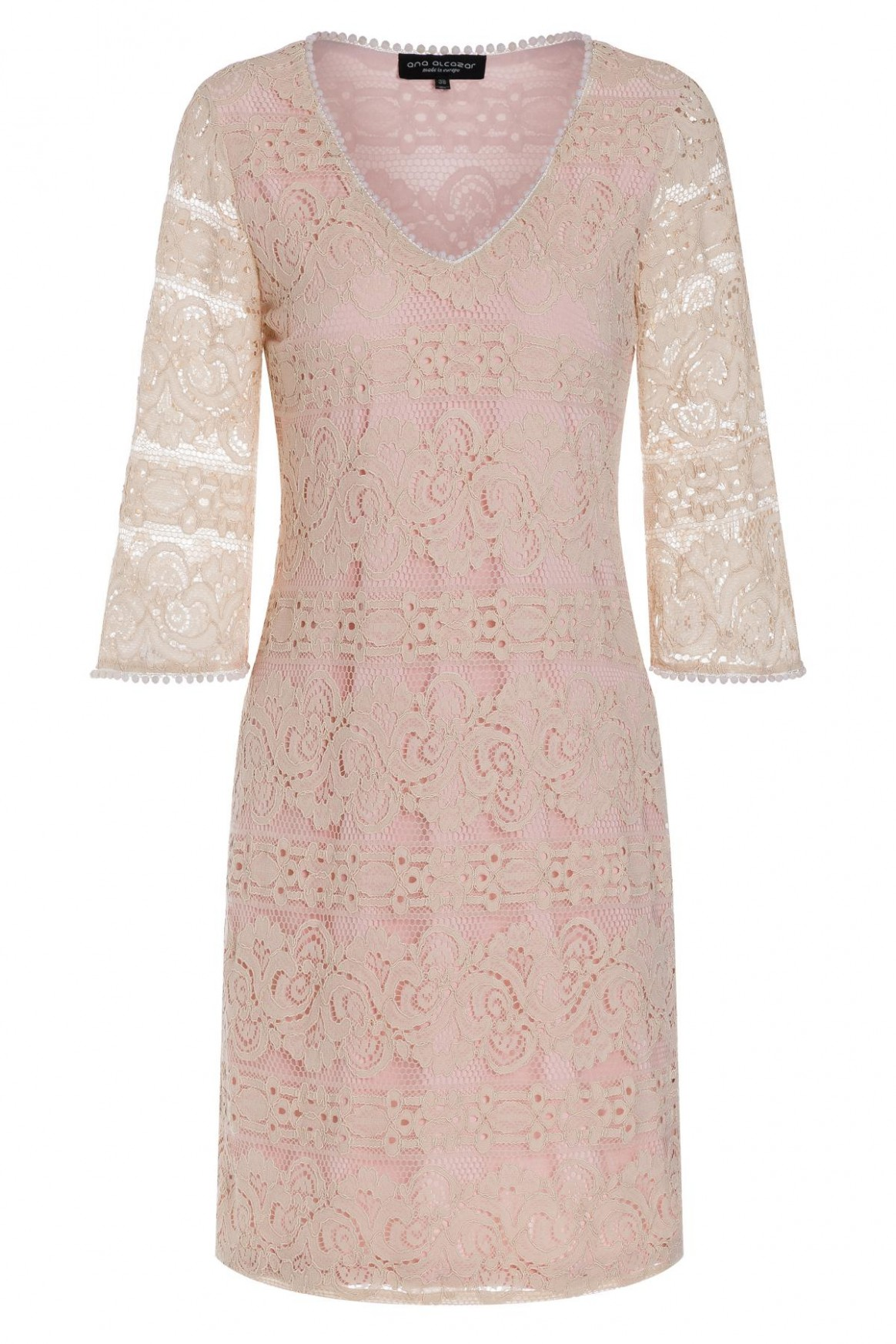 A-shaped dress Tagyne from beige lace  Ana Alcazar