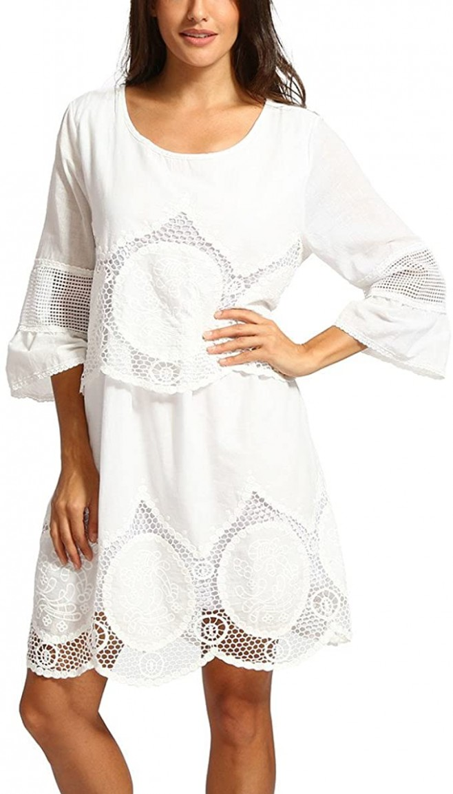 Ansenesna Kleid Damen Boho Sommer Kurz Locker Mini