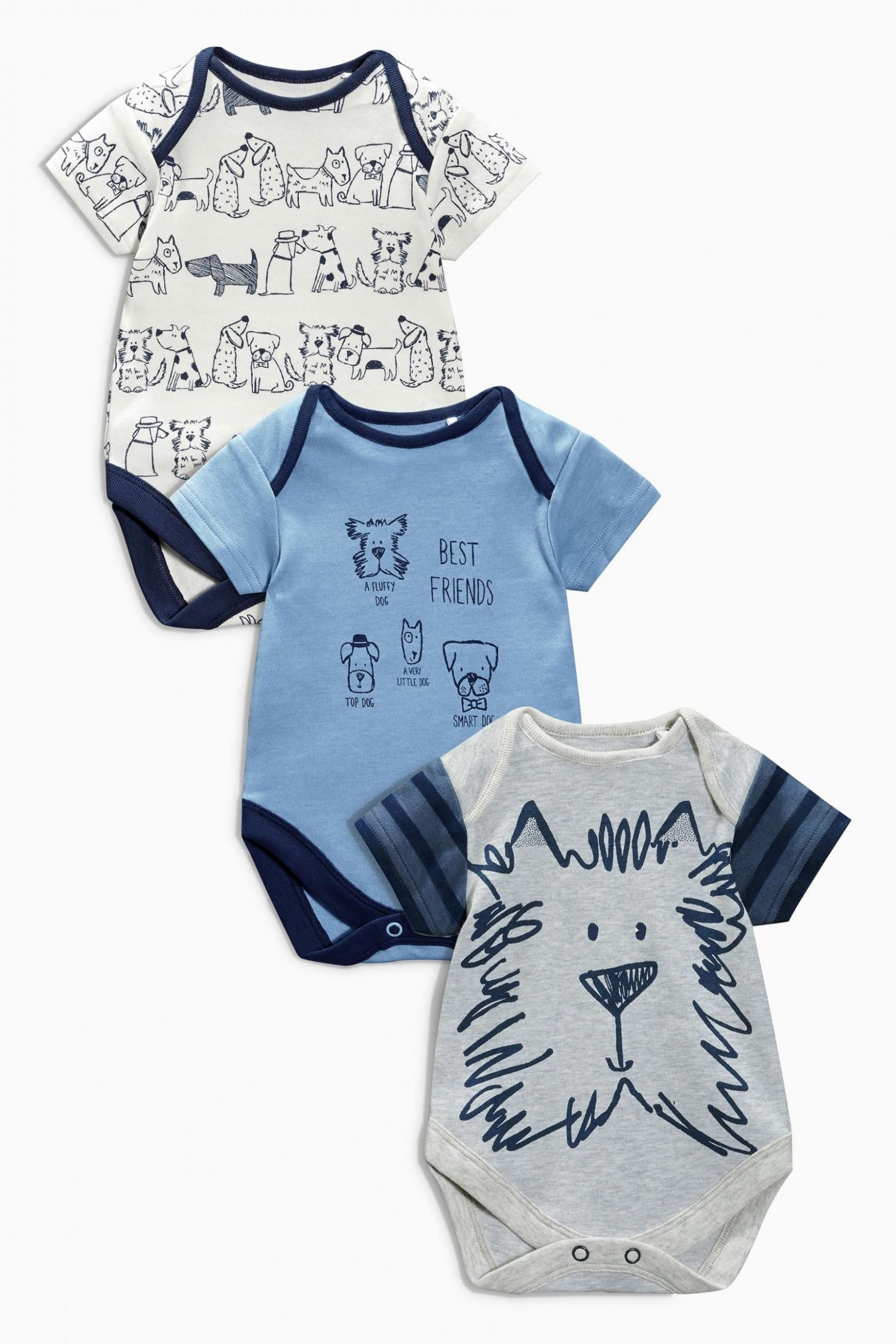 buy three pack blue dog bodysuits (112mths 12yrs) online today at next klamotten