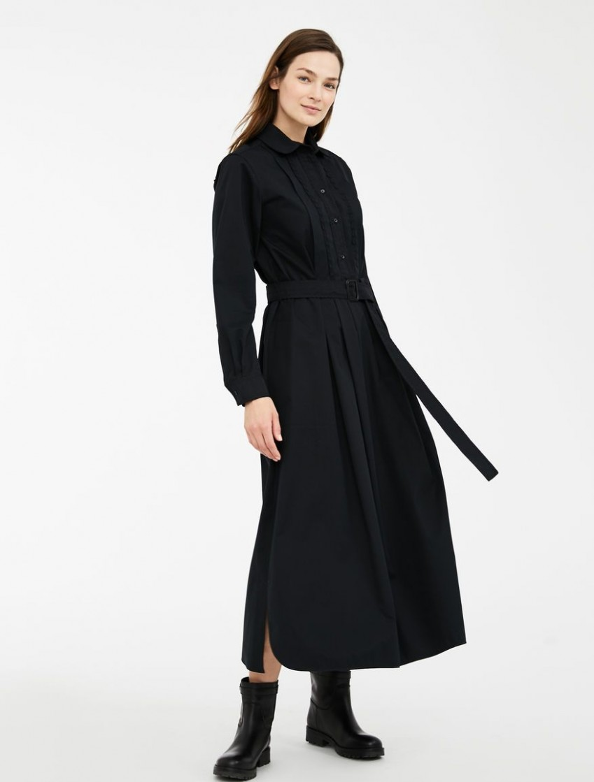 Cotton gabardine dress, black - Weekend Max Mara Product page