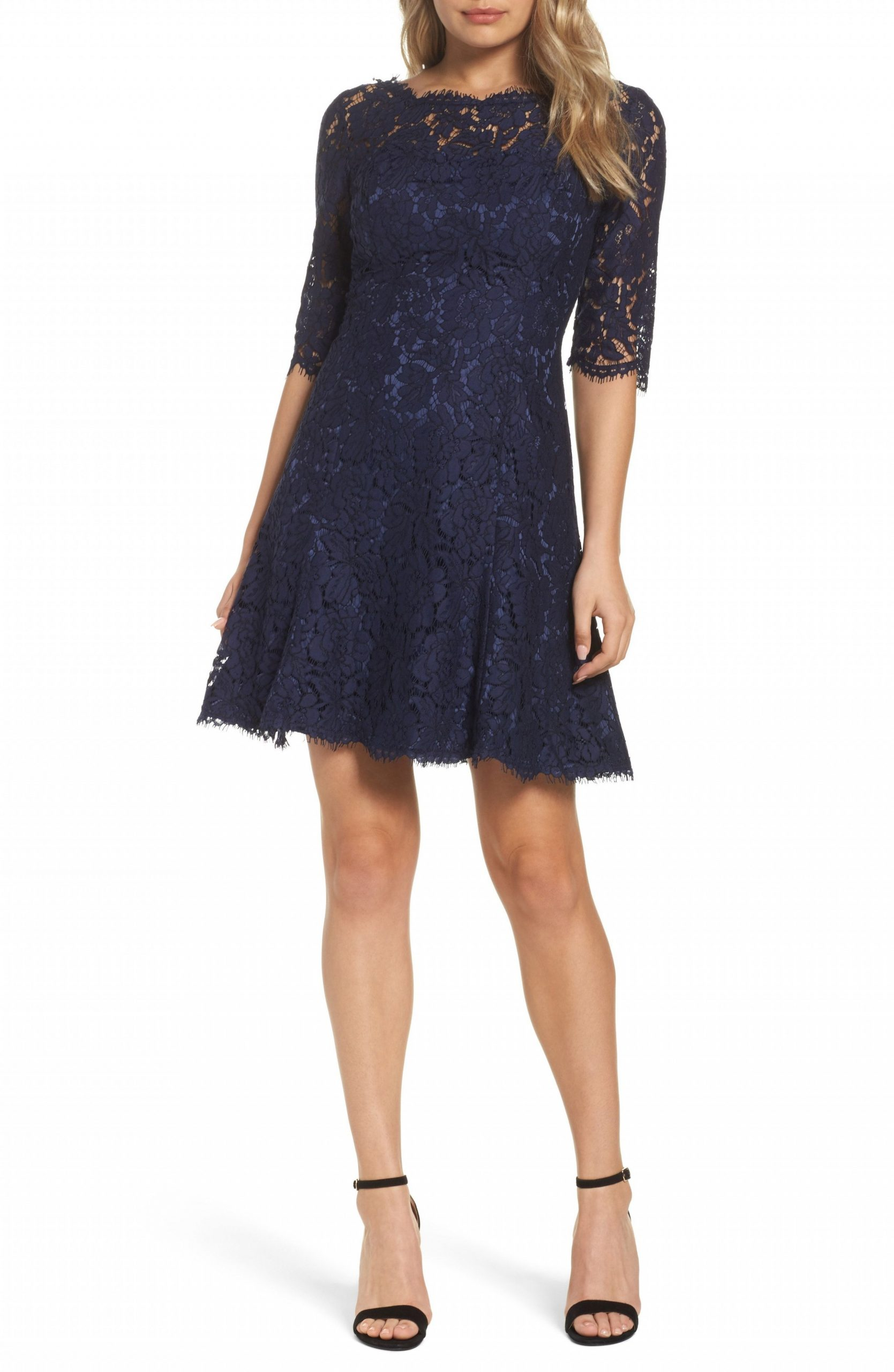 cute navy blue lace fit and flare dress with 11