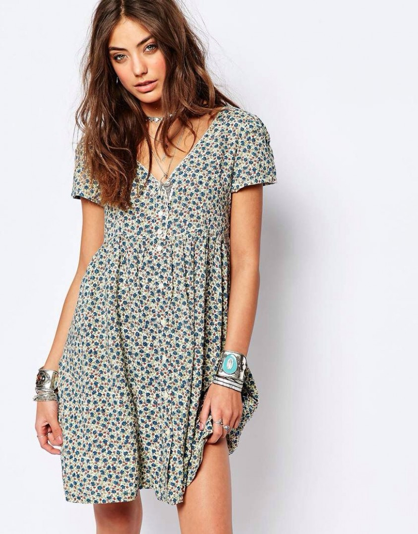 Denim & Supply By Ralph Lauren Babydoll Button Front Dress With Kleid Mit Knöpfen Vorne