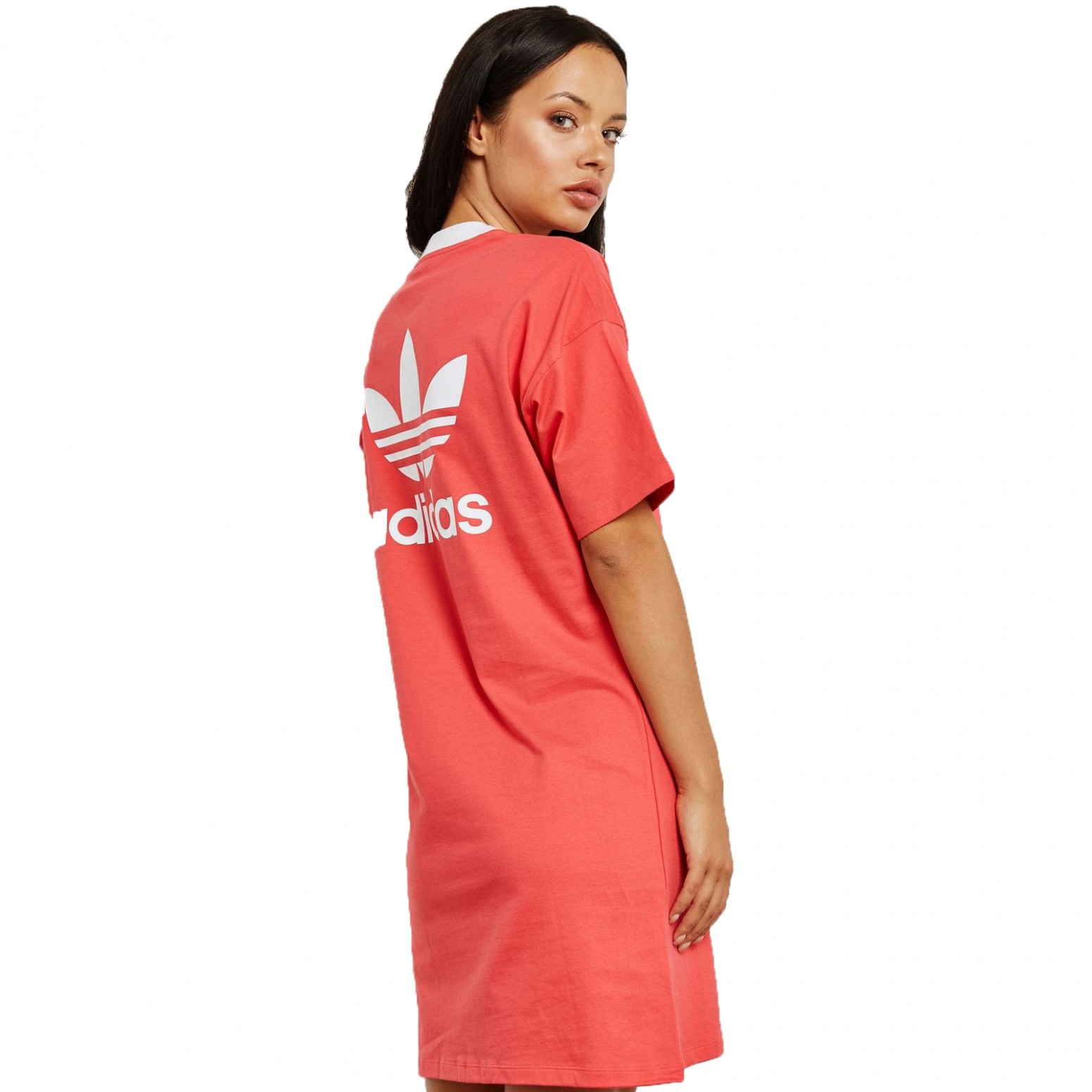 details about adidas originals trefoil tee dress kleid longshirt sommerkleid core pink rot kleid pink