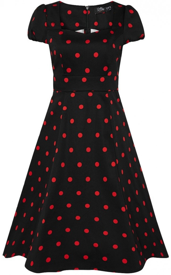 dolly and dotty claudia polka dot punkte swing kleid dress schwarz rot kleid punkte