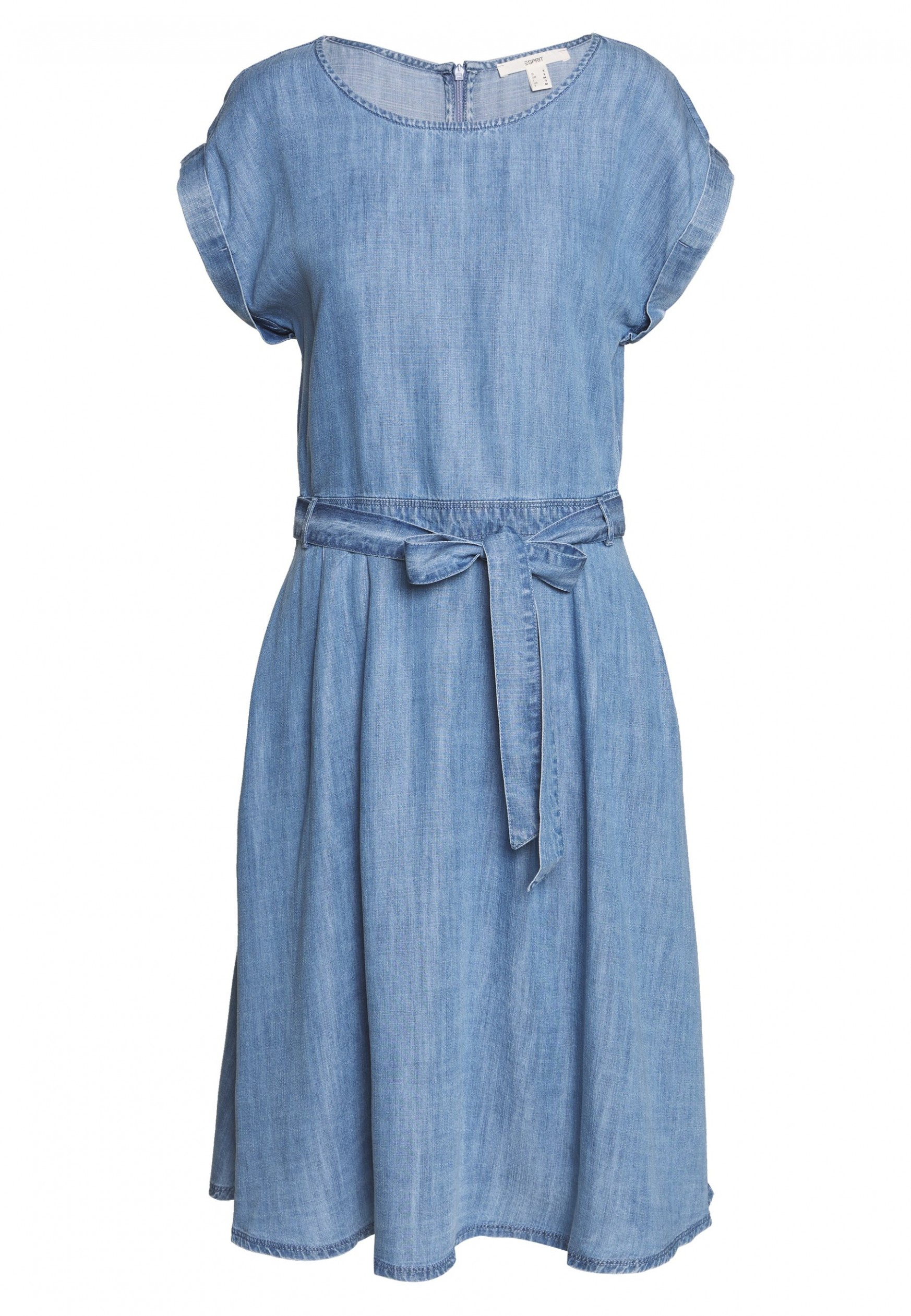 dress midi jeanskleid blue light wash jeanskleid esprit