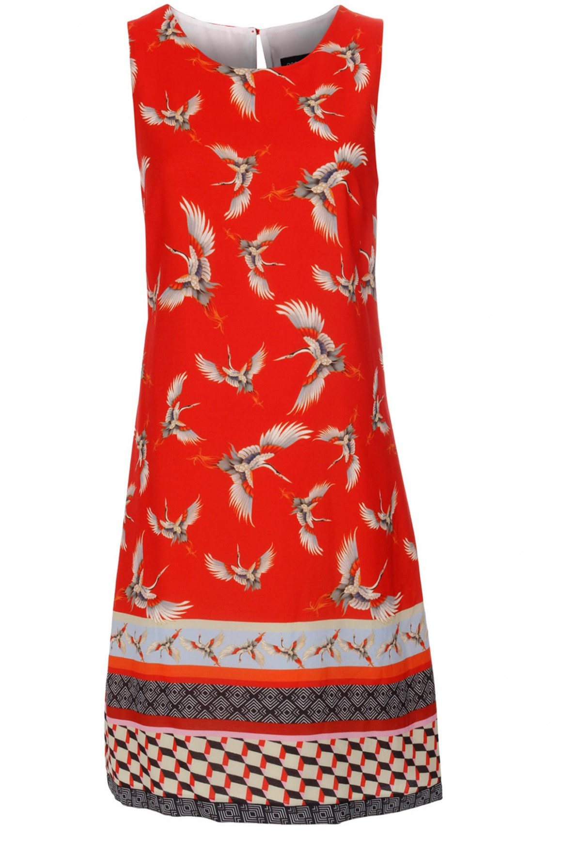 Dress with Bird Print Red
