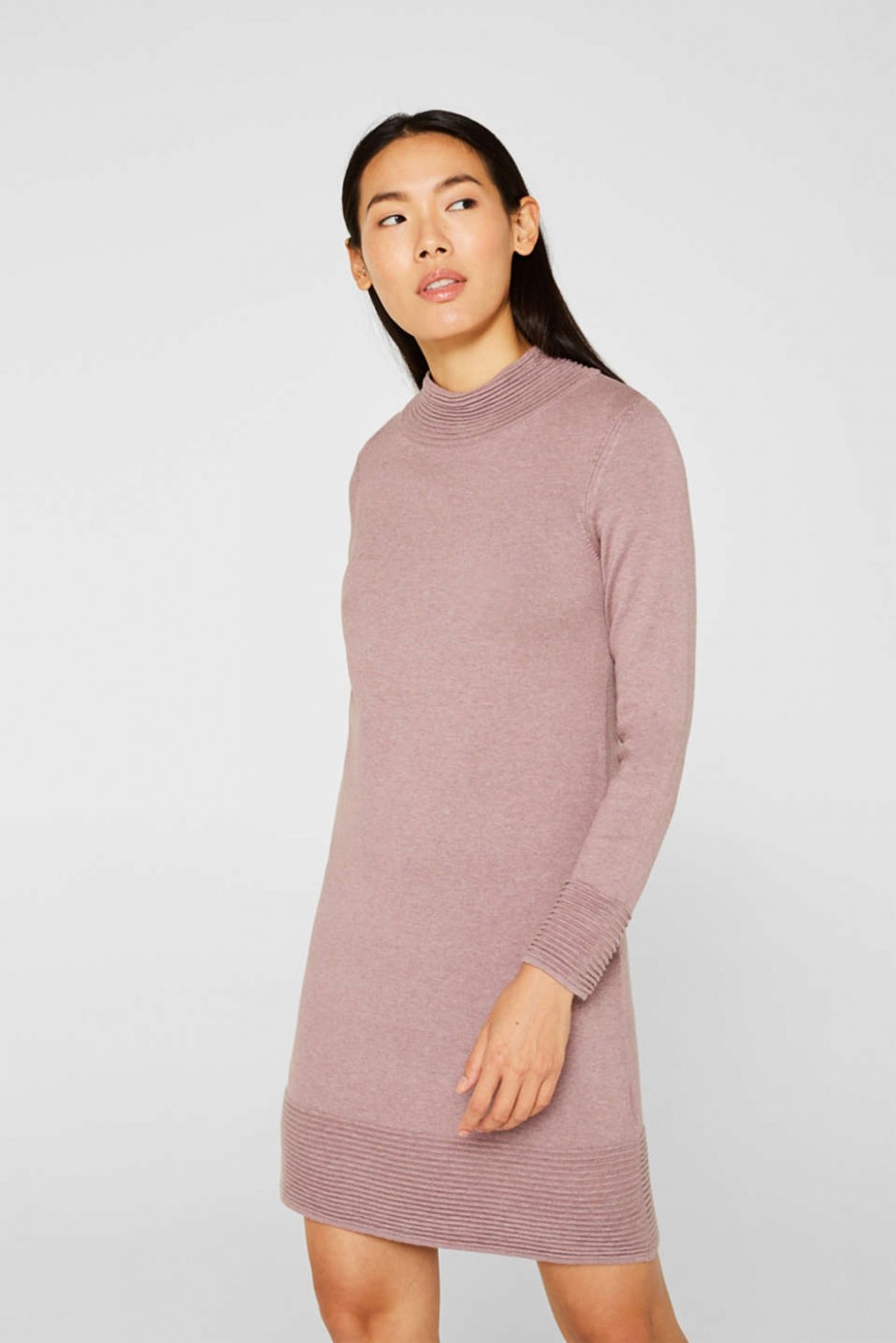 Esprit - Knit dress with pintucks at our Online Shop