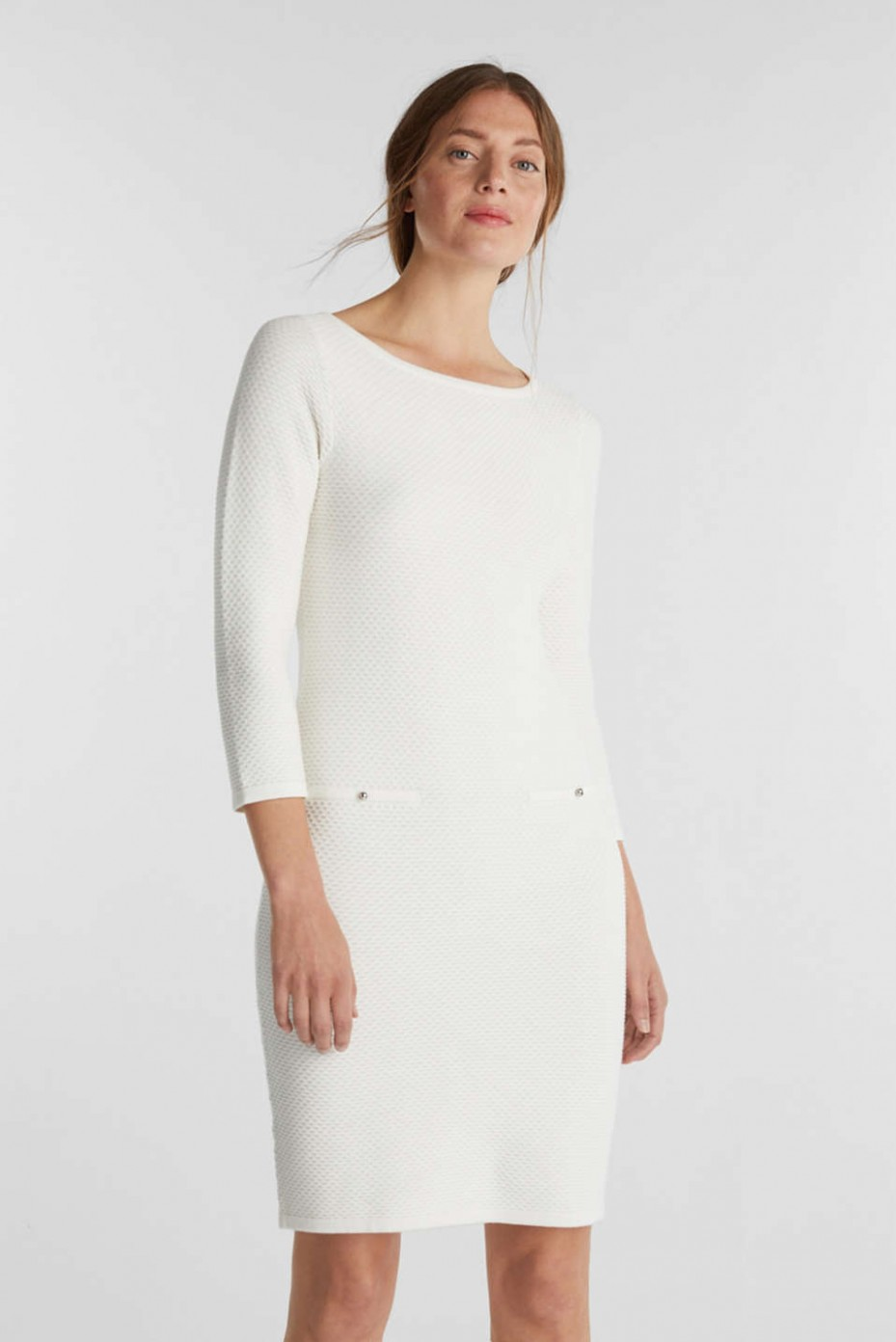 Esprit - Textured knitted dress with decorative buttons at our