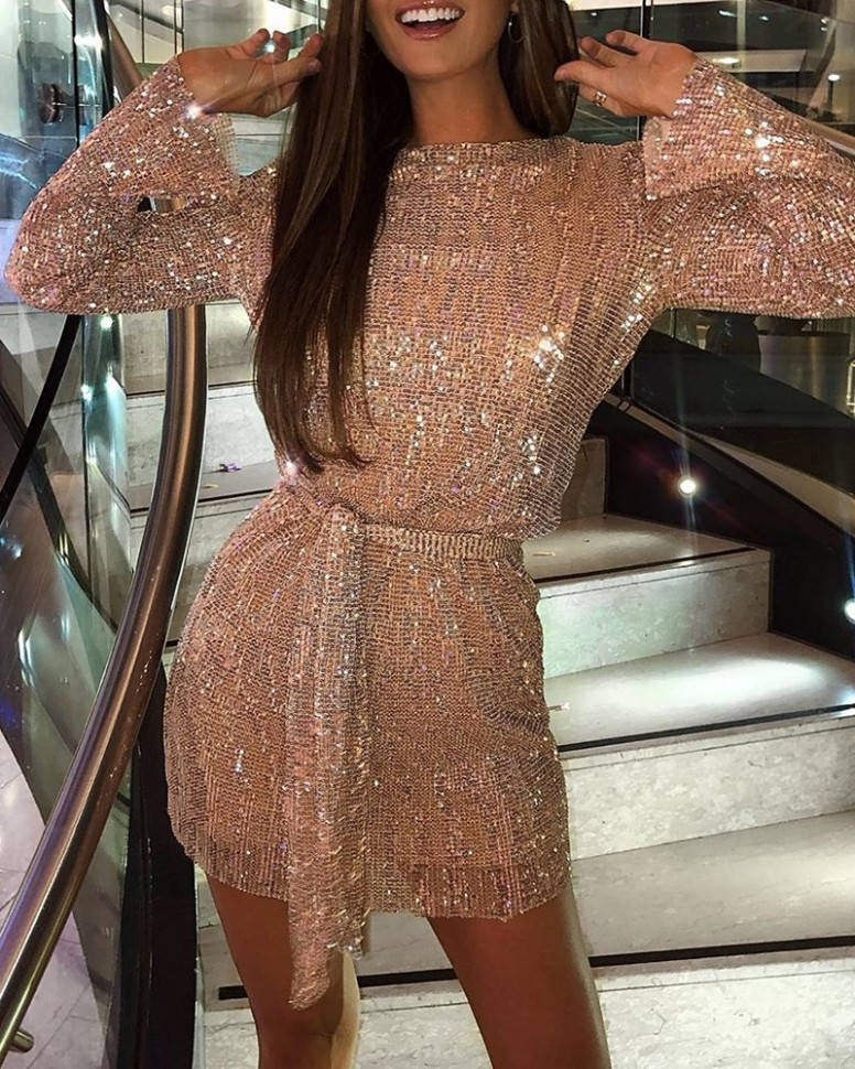 Glitter Round Neck Long Sleeve Sequins Bodycon Dress Online