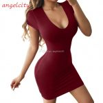 Großhandel Hot Enges Kleid Sommer Beutel Hüfte Rock Frauen Kurzärmliges Kleid Sexy Low Cut Rundhalsausschnitt Rock A Linie Rock 11 European American Enges Kleid