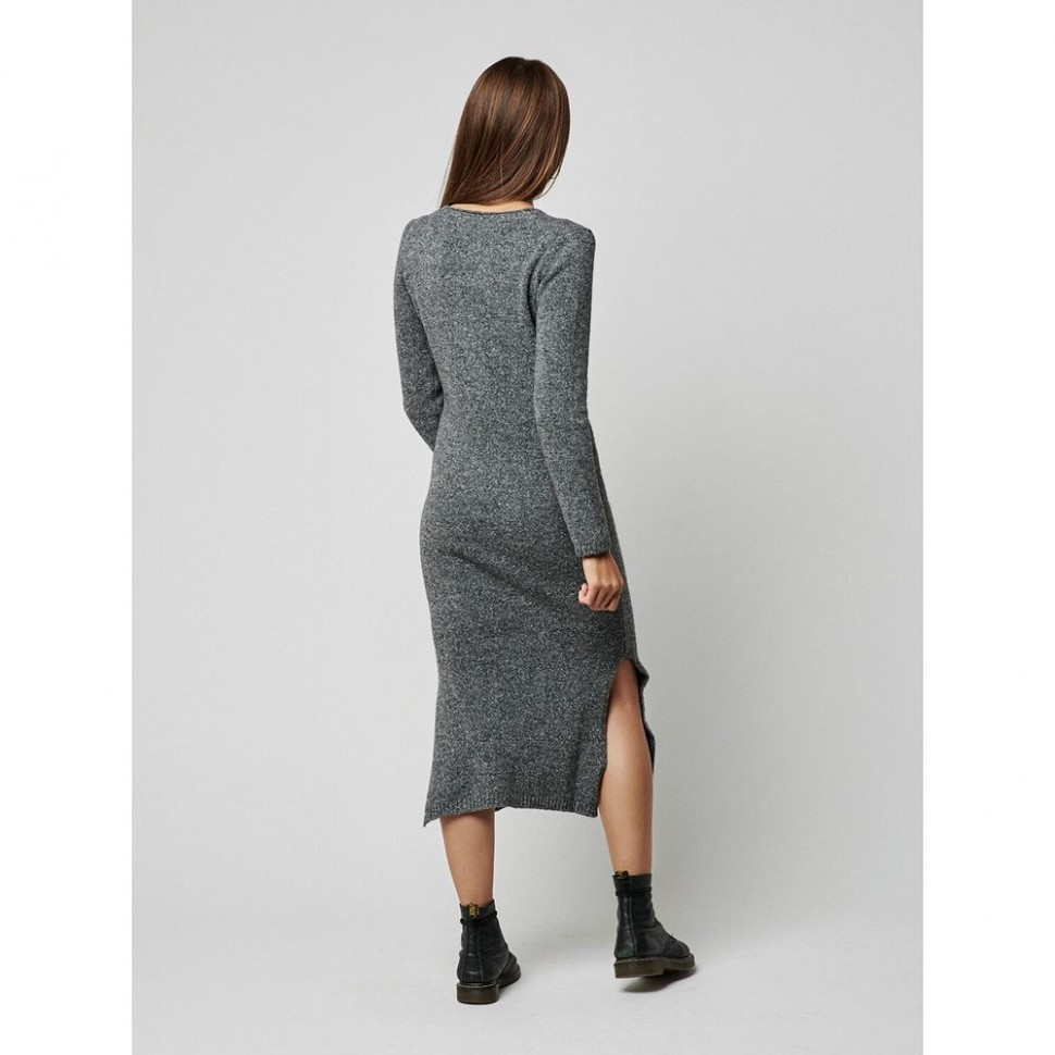 "Hanishken Strickkleid lang ""LUCCA"" Grey Mélange"