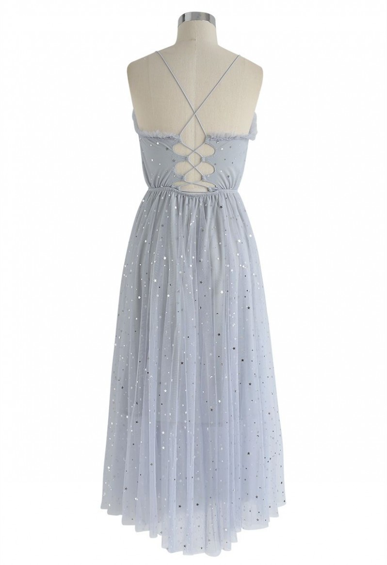 heller stars cross back mesh kleid in grau mesh kleid