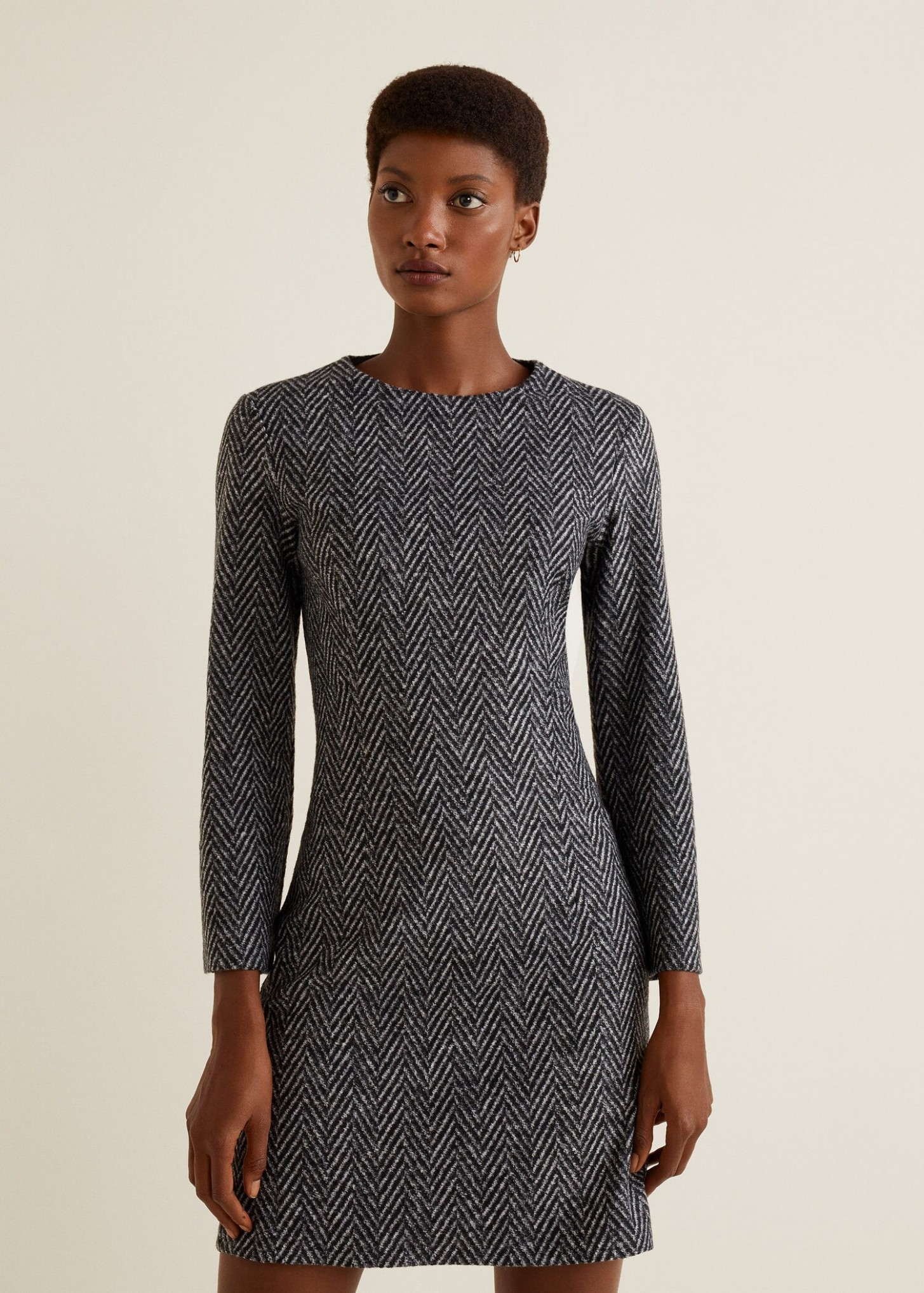 herringbone wool blend dress woman outlet united kingdom wollkleid