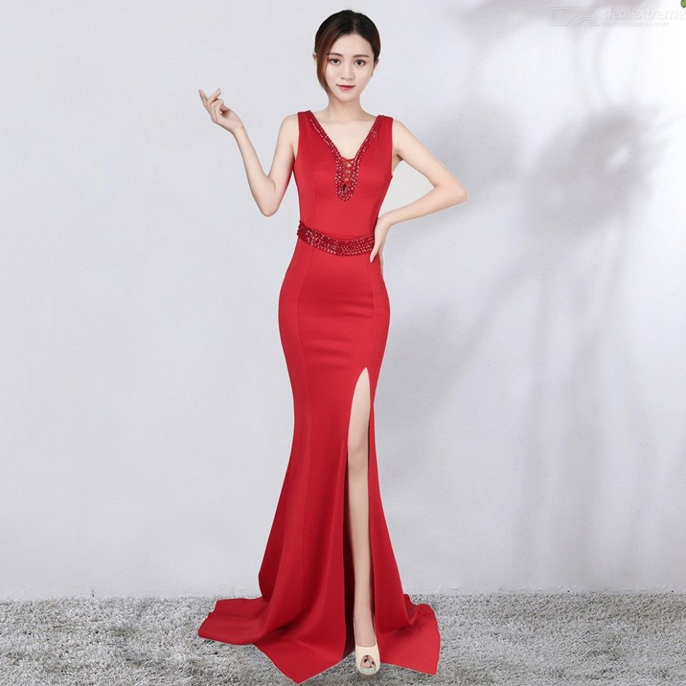 hollow out v neck backless slit maxi dress with belt and drill decoration for party langes kleid seitlichem schlitz