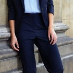 Ice Blue Shirt & Navy Pantsuit