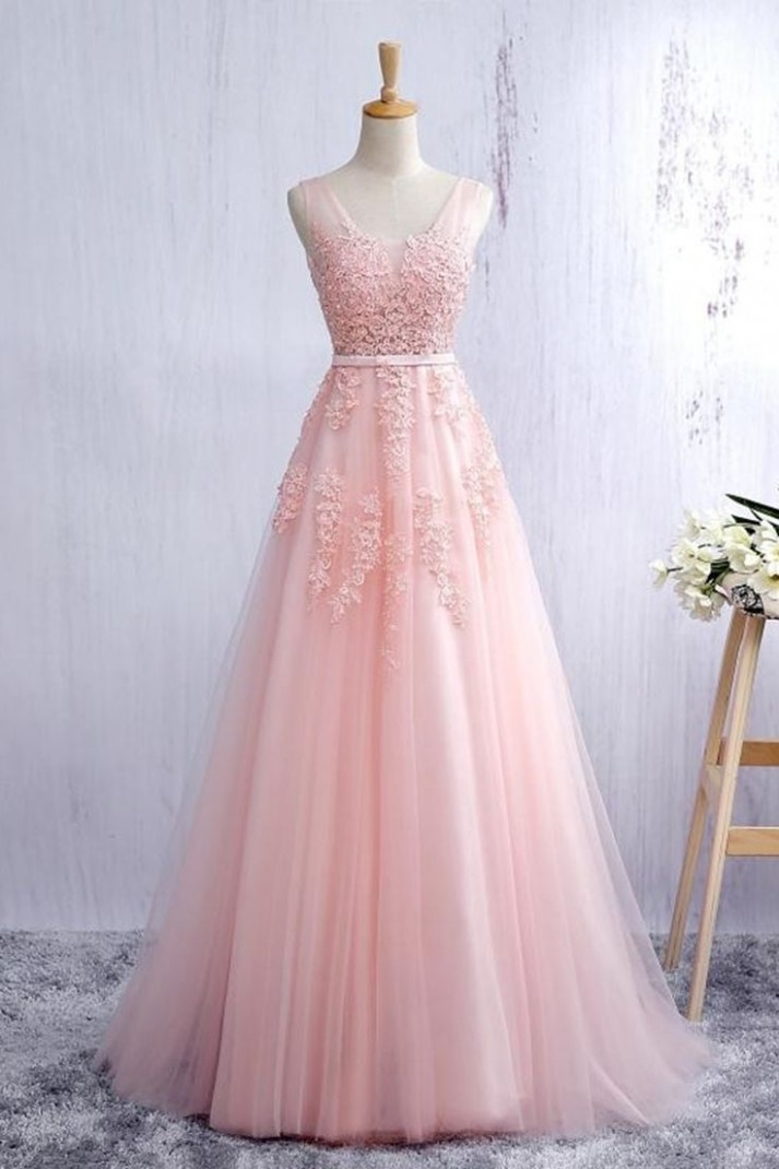 lace applqiued pink tulle ball gown, long prom dress for teens rosa kleid lang