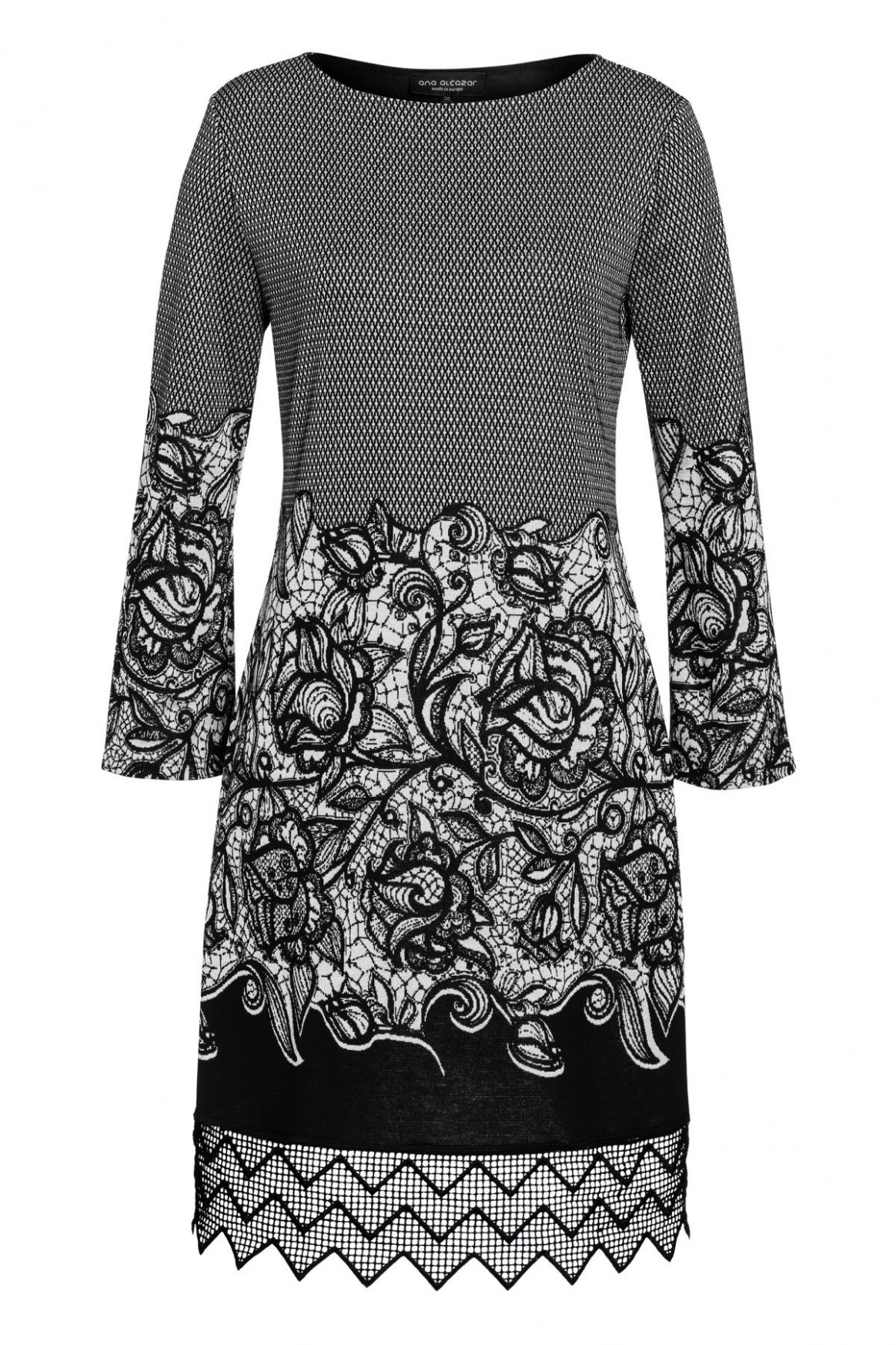 Lacke dress Vehasa in black-grey with flowers  Ana Alcazar