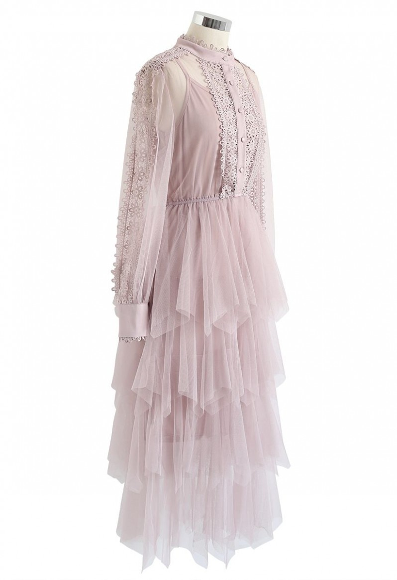 Lacy Sleeves Tiered Mesh Kleid in Pink
