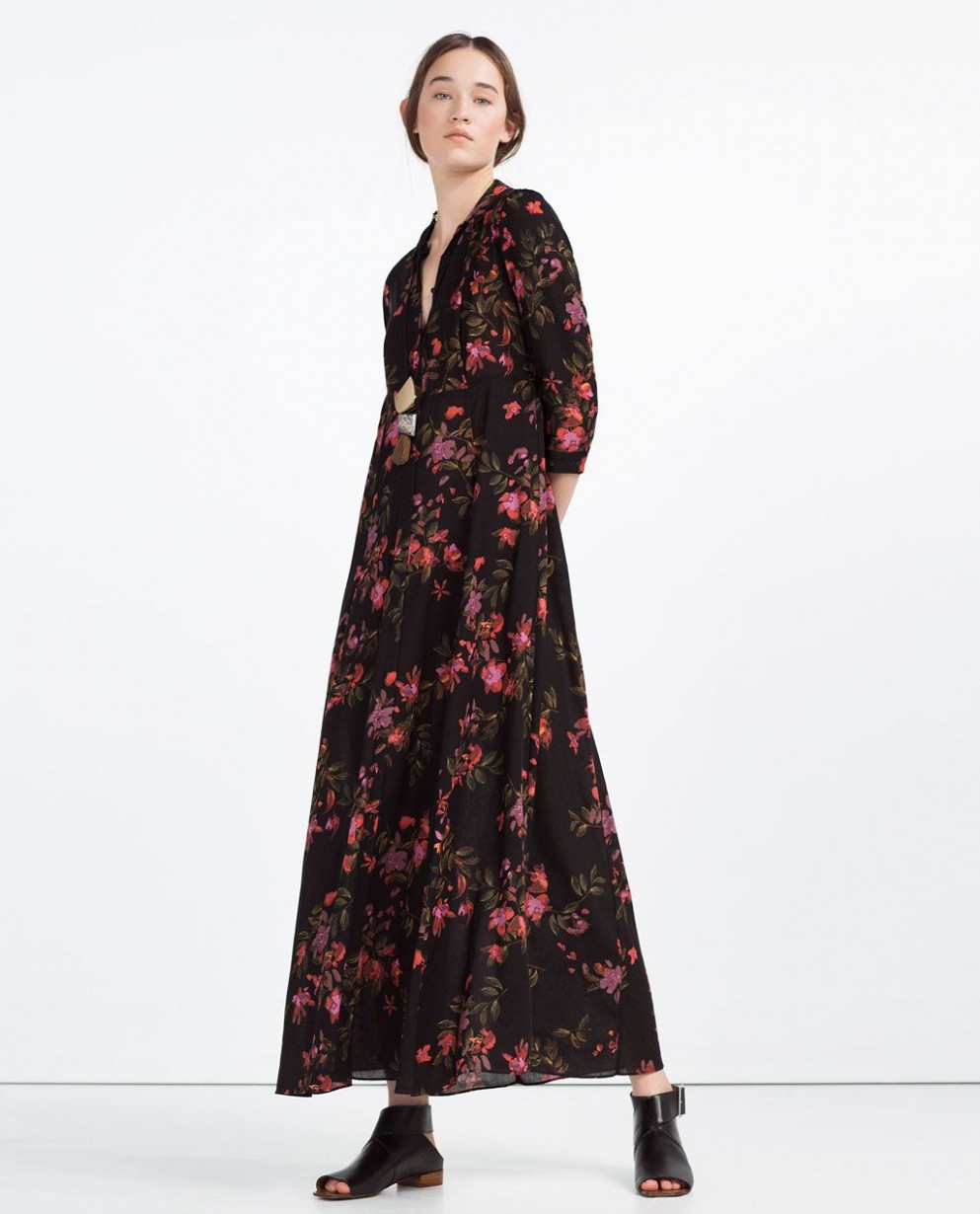 long dress with floral print view all new this week woman zara blumenkleid