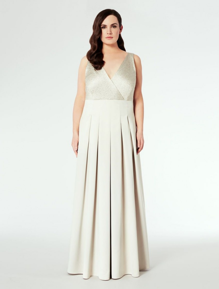 Long full-skirted gown, light grey - DORALIC Marina Rinaldi