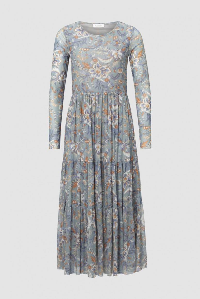mesh dress with floral design kleid rich and royal