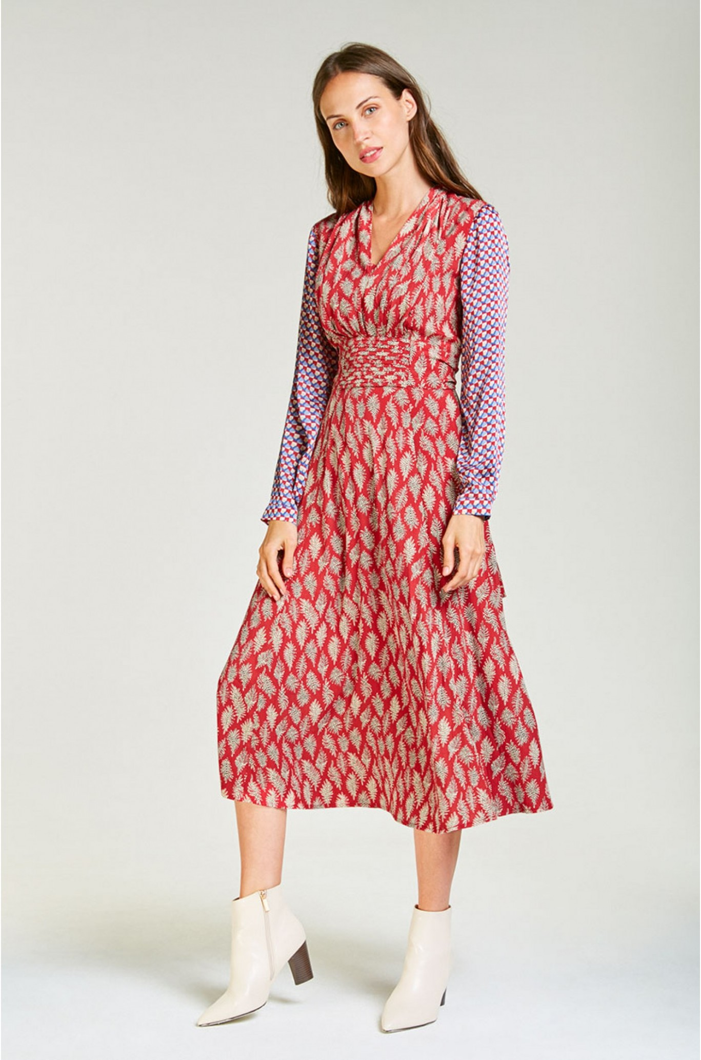 midi chiffon dress with sleeved in printed red chiffon kleid