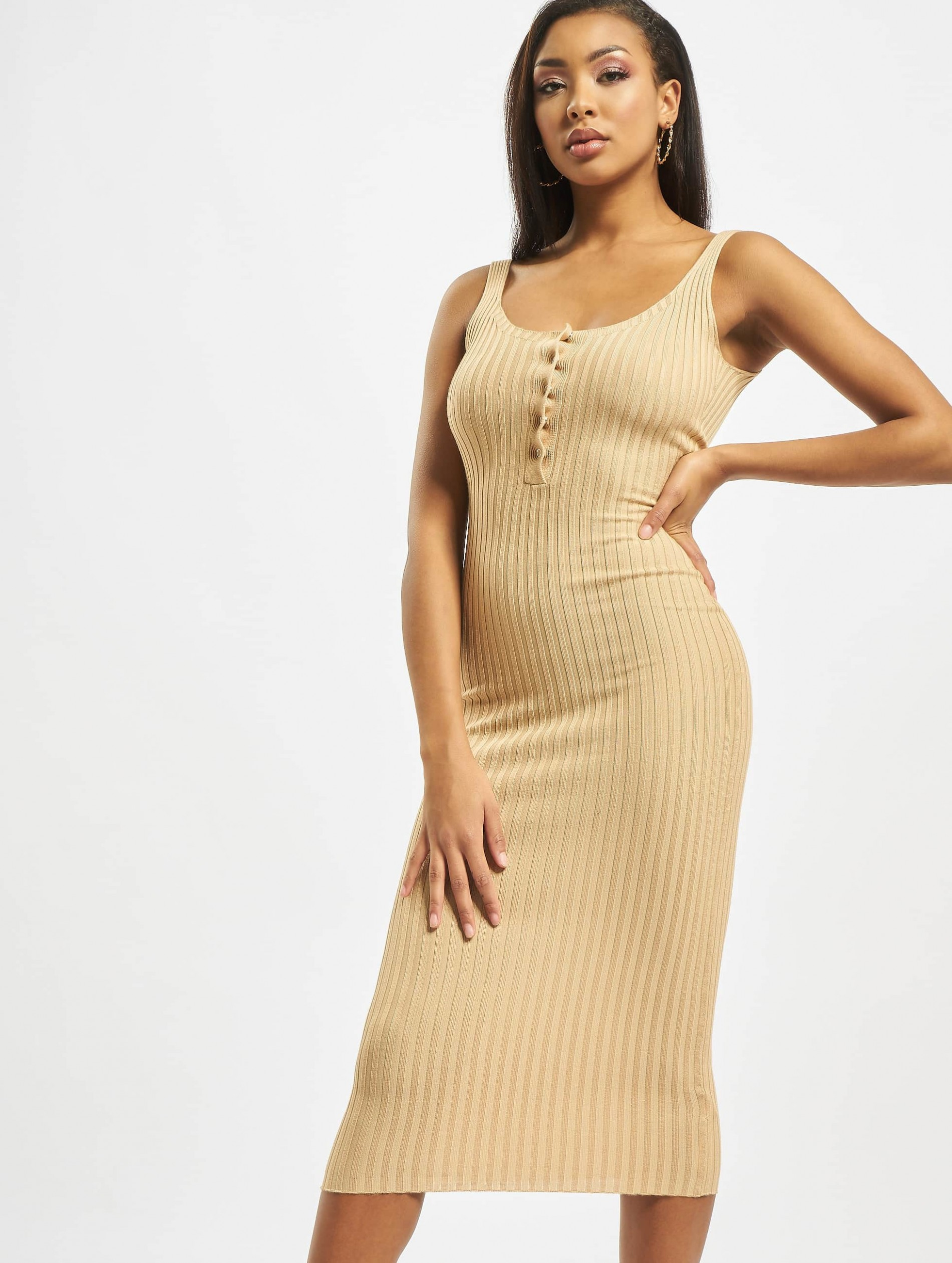 missguided popper ribbed knitted midaxi dress camel kleid beige