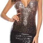 Oksea Damen Party Pailletten Kleid Damen Reizvoller Tiefer V Glitzer Kleid Damen
