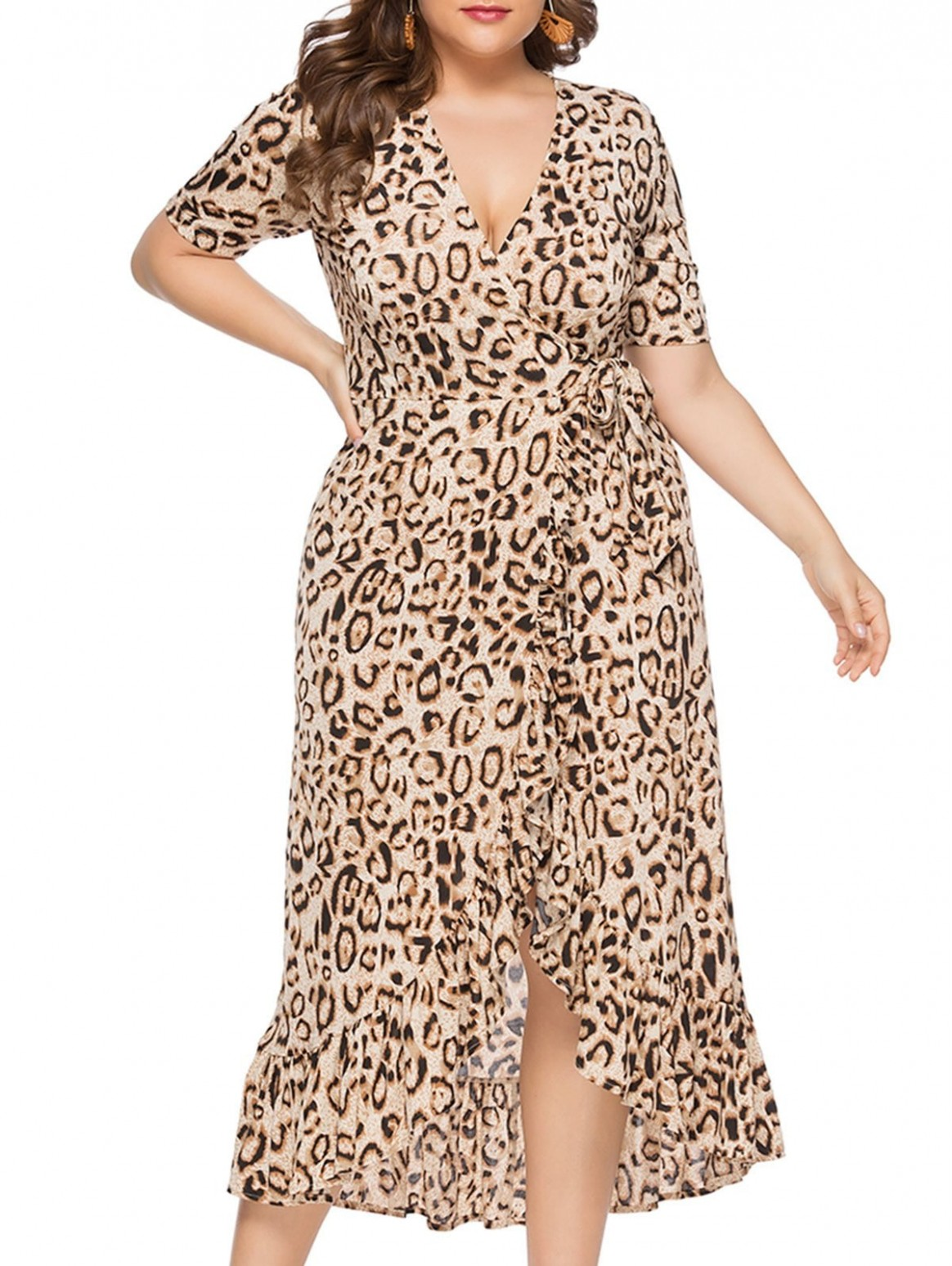 plus size leopard print midi kleid where can i buy 12 12a12
