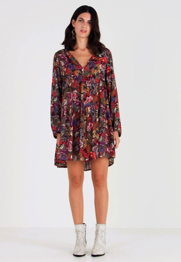 rich & royal dress printed day dress cherry red/multi coloured kleid rich and royal