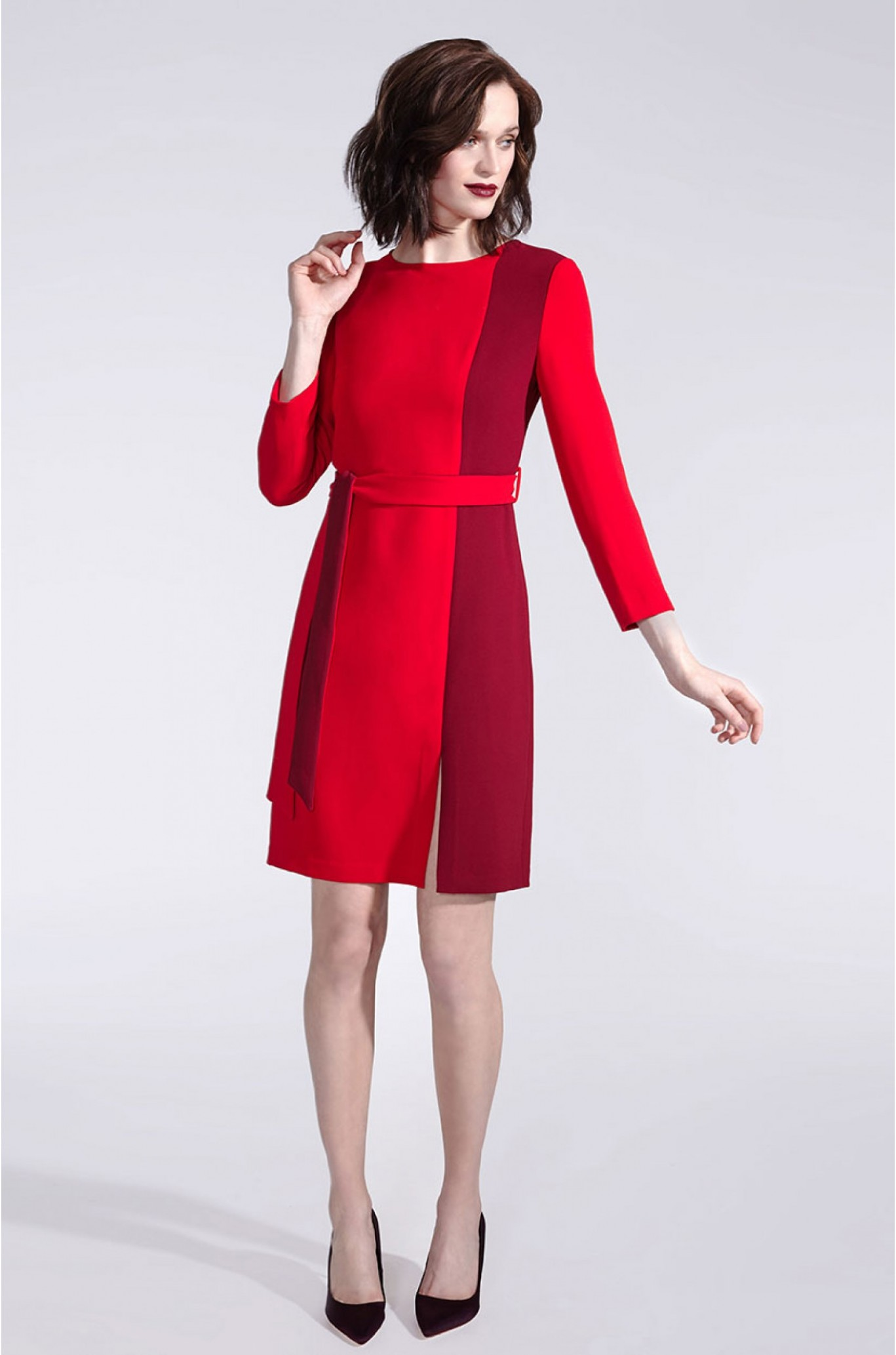 Rotes Businesskleid Mit Langarm Rotes Kleid Langarm