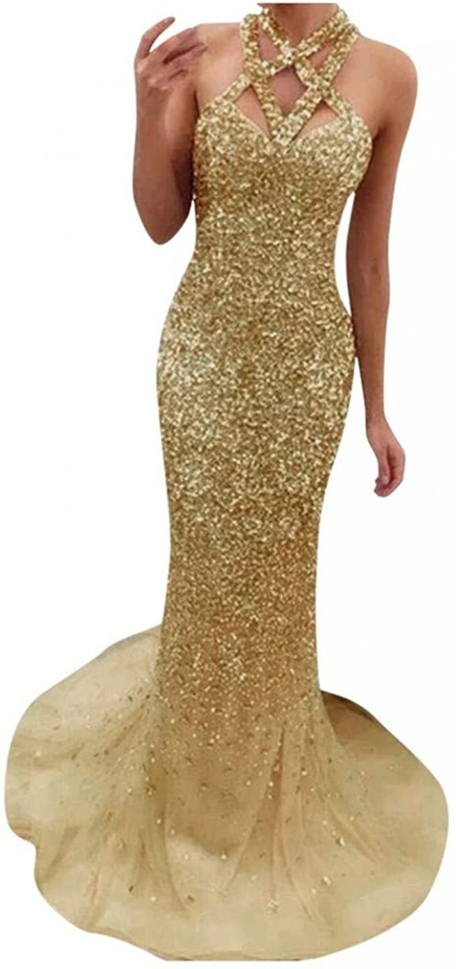 Schöne Off Should Paillettekleid Damen Glitzerkleider Ärmellos Elegante Kleider Lang