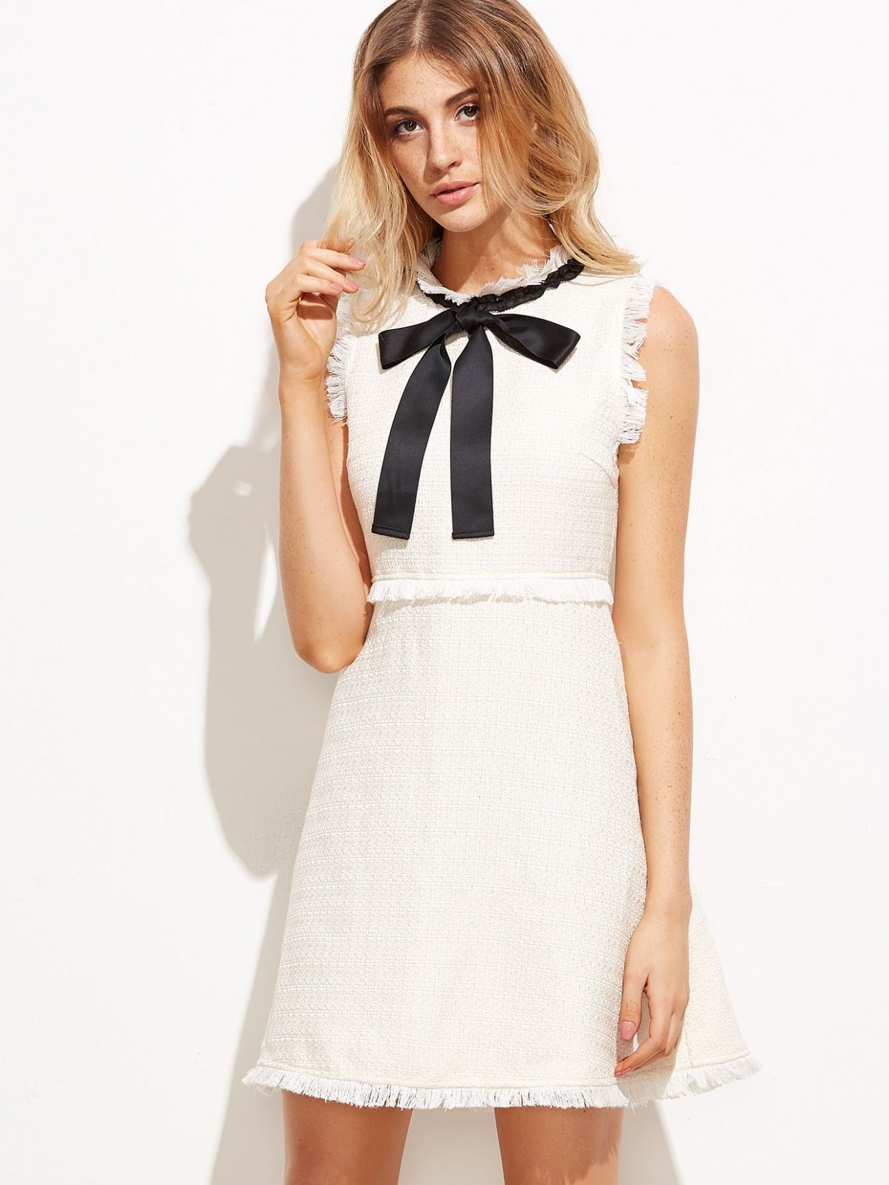 shop bow tie neck frayed trim tweed dress online