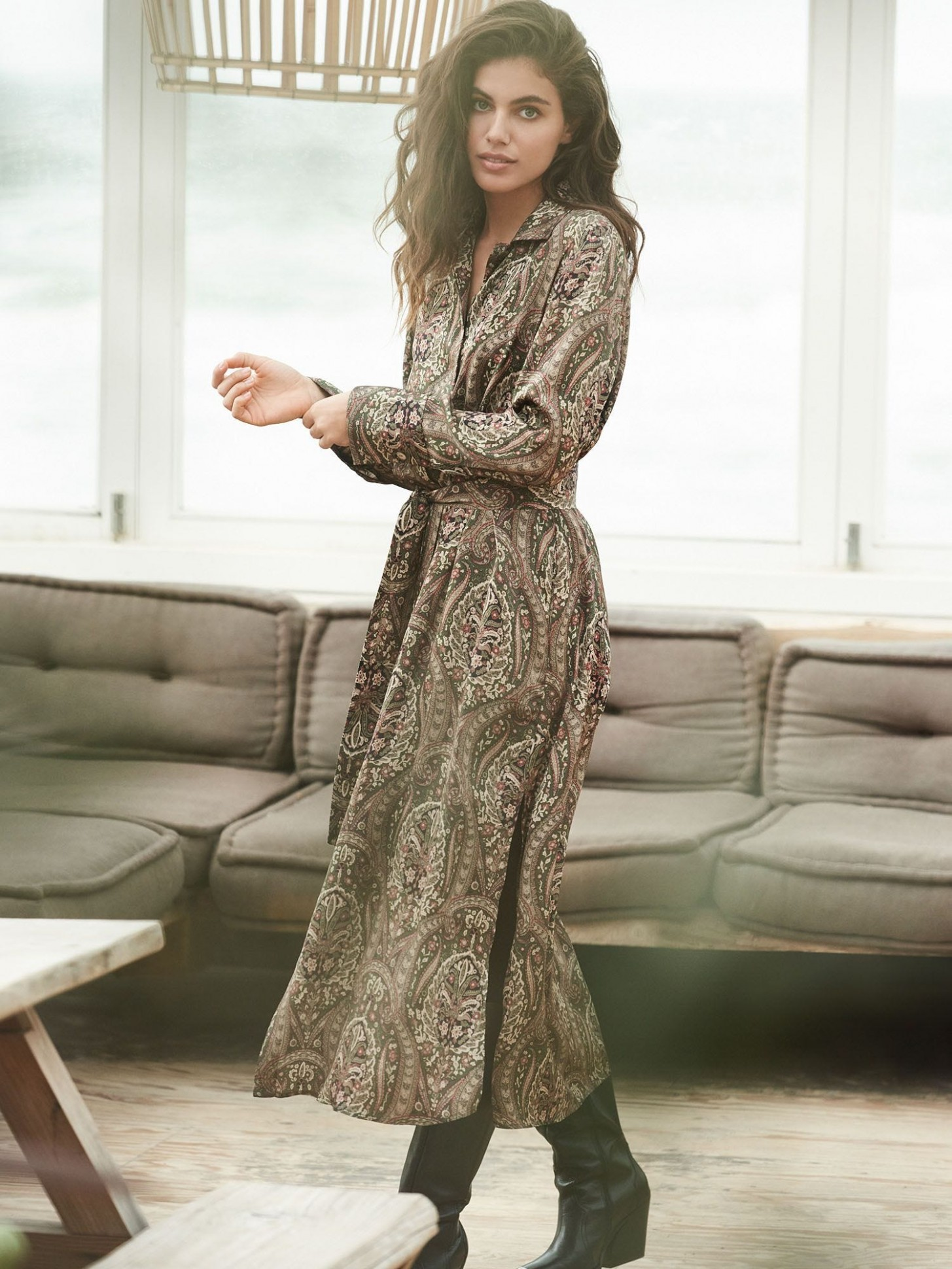 silk paisley dress with belt cashmere kleid