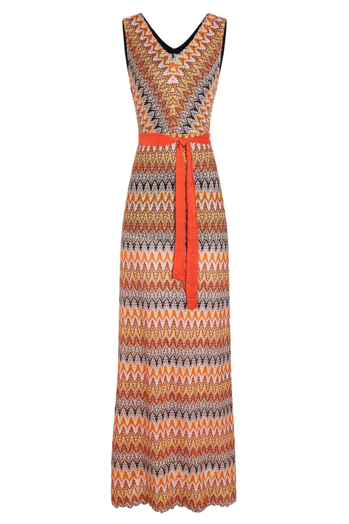 Sleeveless maxi dress Zunis from orange knit  Ana Alcazar