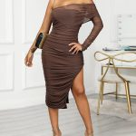 Solid Ruched Bodycon Asymmetric Dress Online