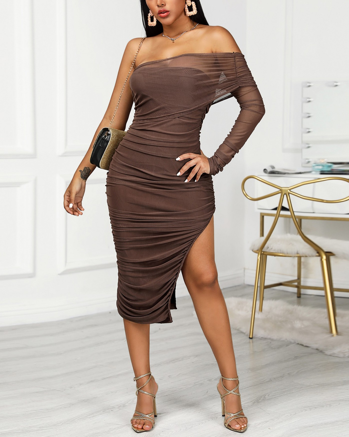 Solid Ruched Bodycon Asymmetric Dress Online. Discover hottest