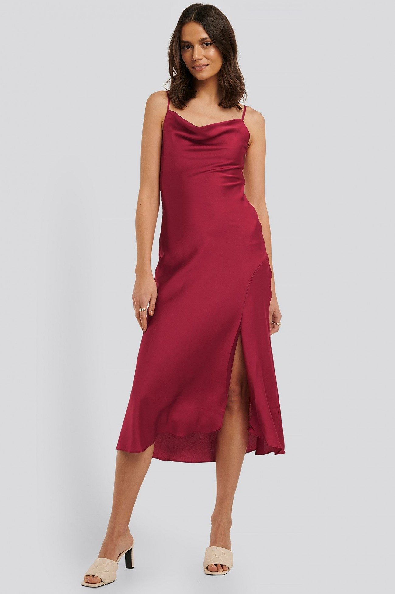 thin strap midi dress burgundy in 11 cocktailkleid, festliches cocktailkleid midi