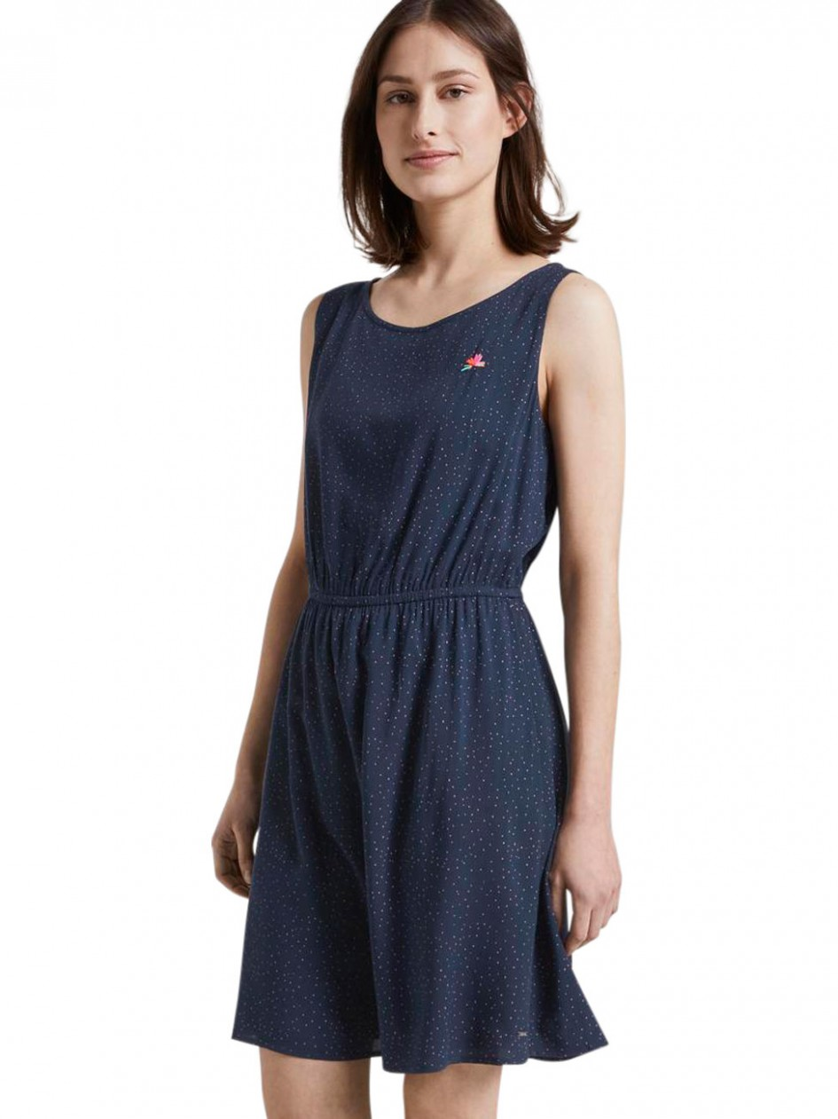 tom tailor denim damen kleid mit punkten tom tailor denim kleid