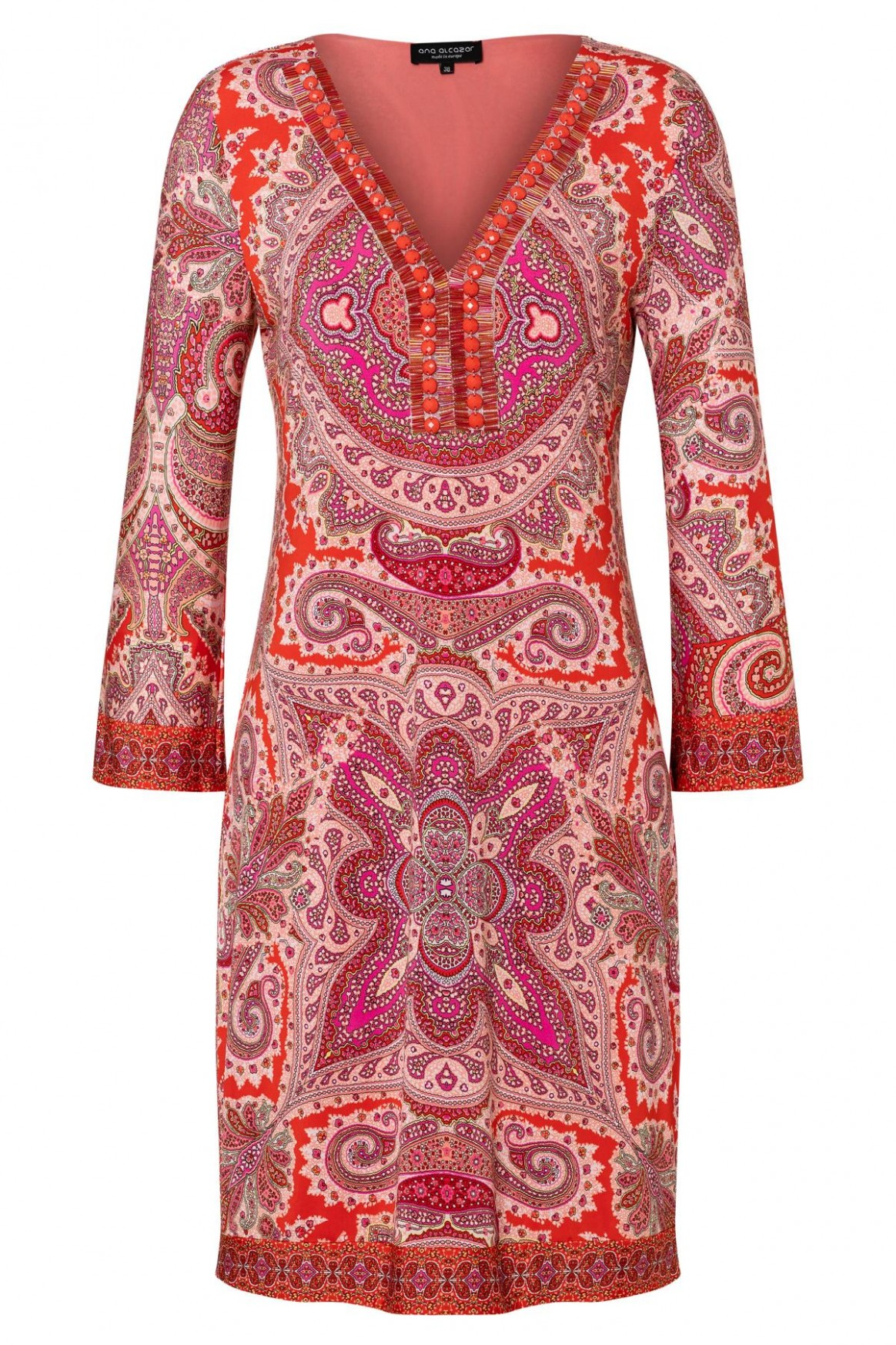 Tunic dress Zafai with deco-neckline in red with paisley-print  Ana Alcazar