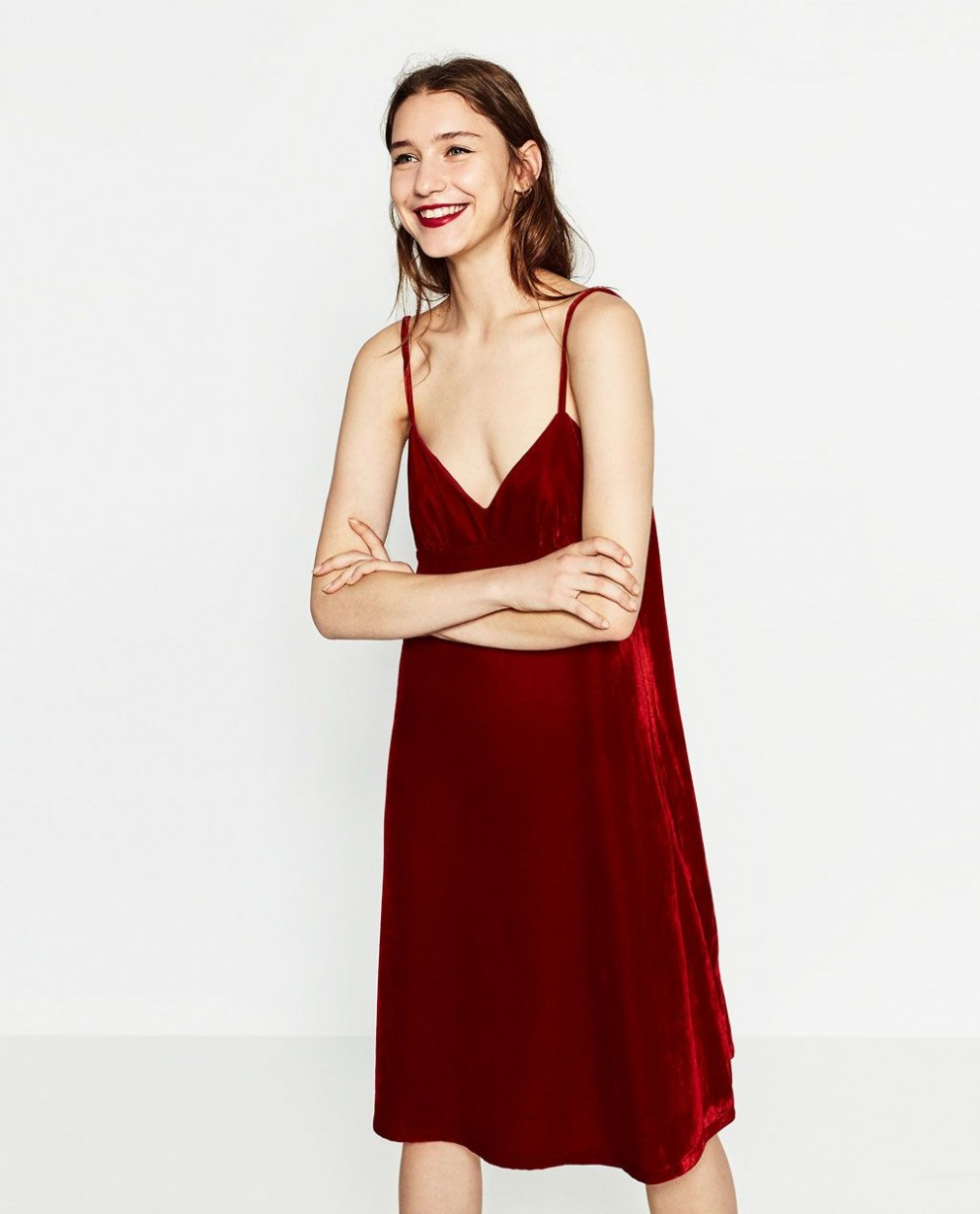 zara woman velvet dress modestil, rotes samtkleid, vintage rotes samtkleid