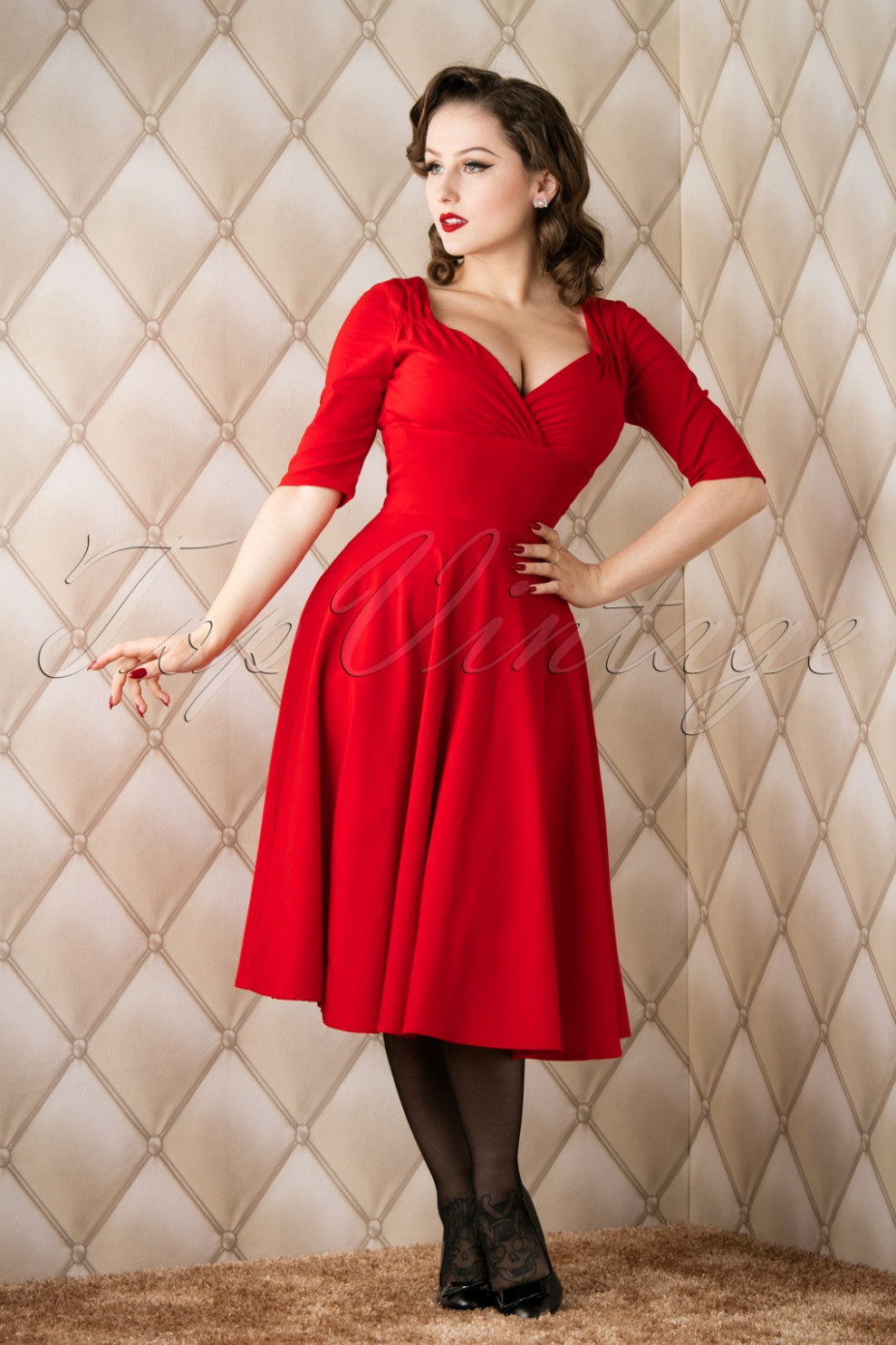 8s trixie doll swing dress in red top vintage kleider
