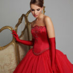 Ball Gown Red Wedding Dress In Basque Waistline And A Huge Skirt Rotes Hochzeitskleid